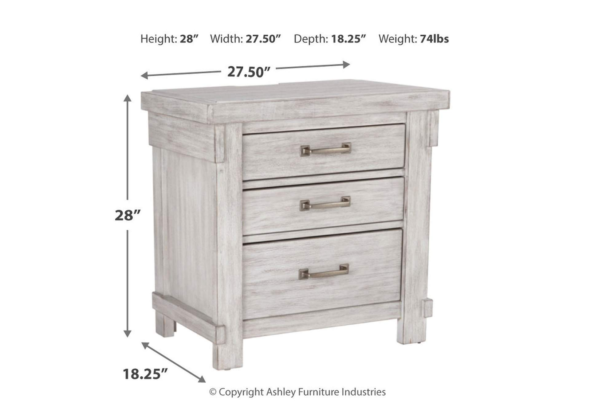 Brashland Three Drawer Nightstand,Direct To Consumer Express