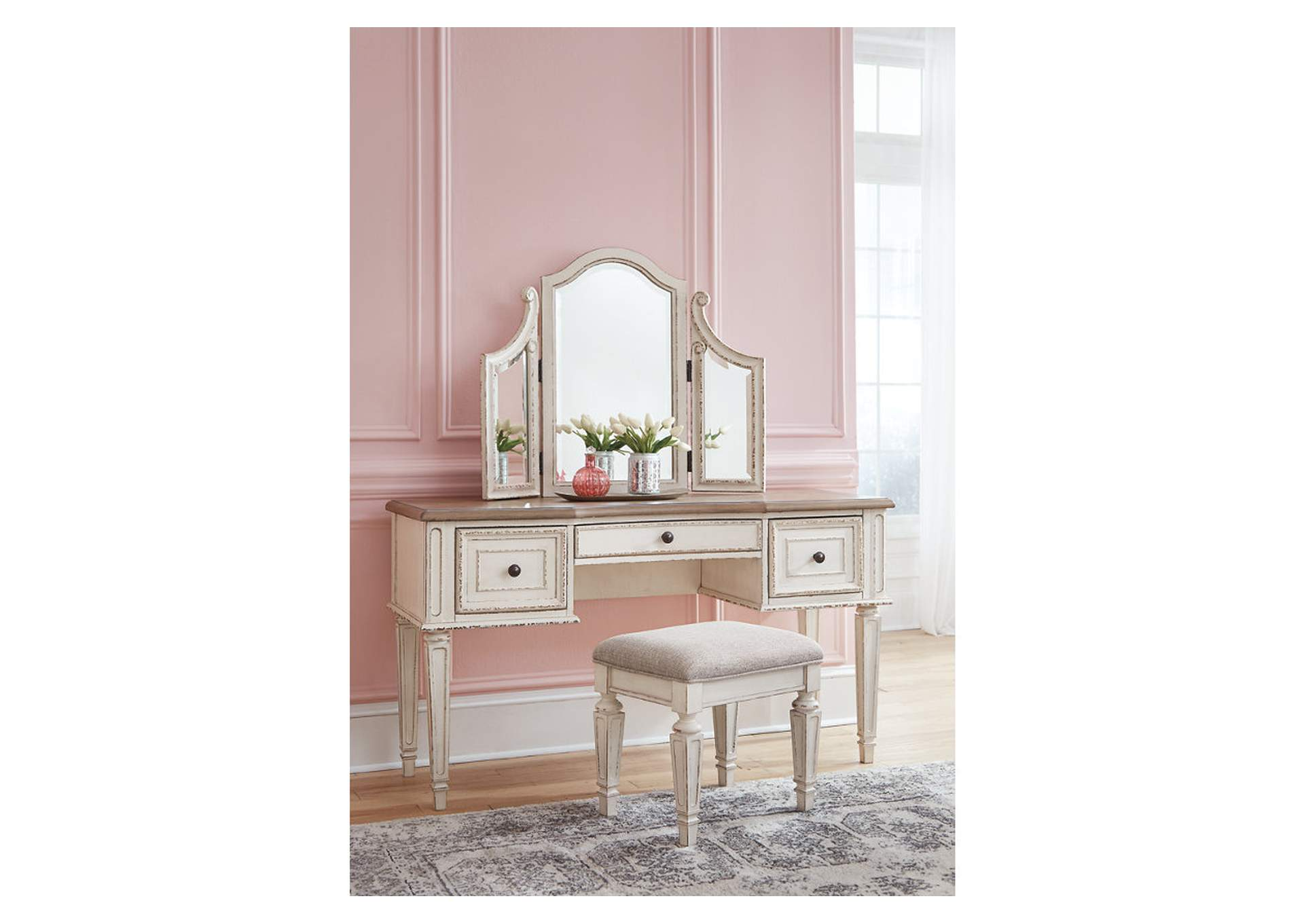 Realyn White Vanity w/Mirror & Stool,Signature Design By Ashley