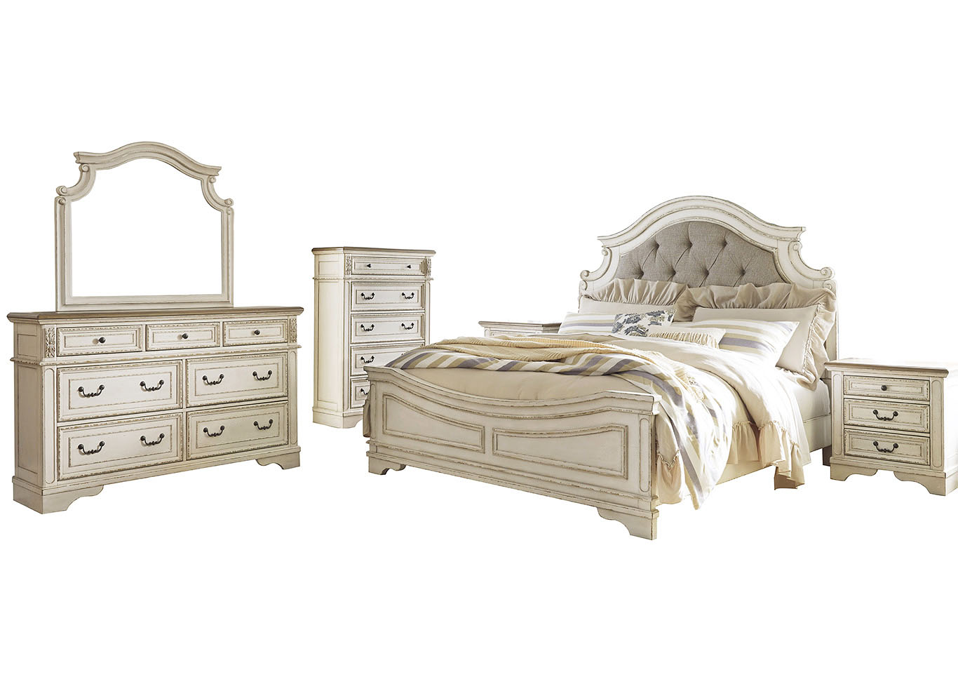 Realyn Chipped White Queen Panel Bed and Dresser w/Mirror,Signature Design By Ashley