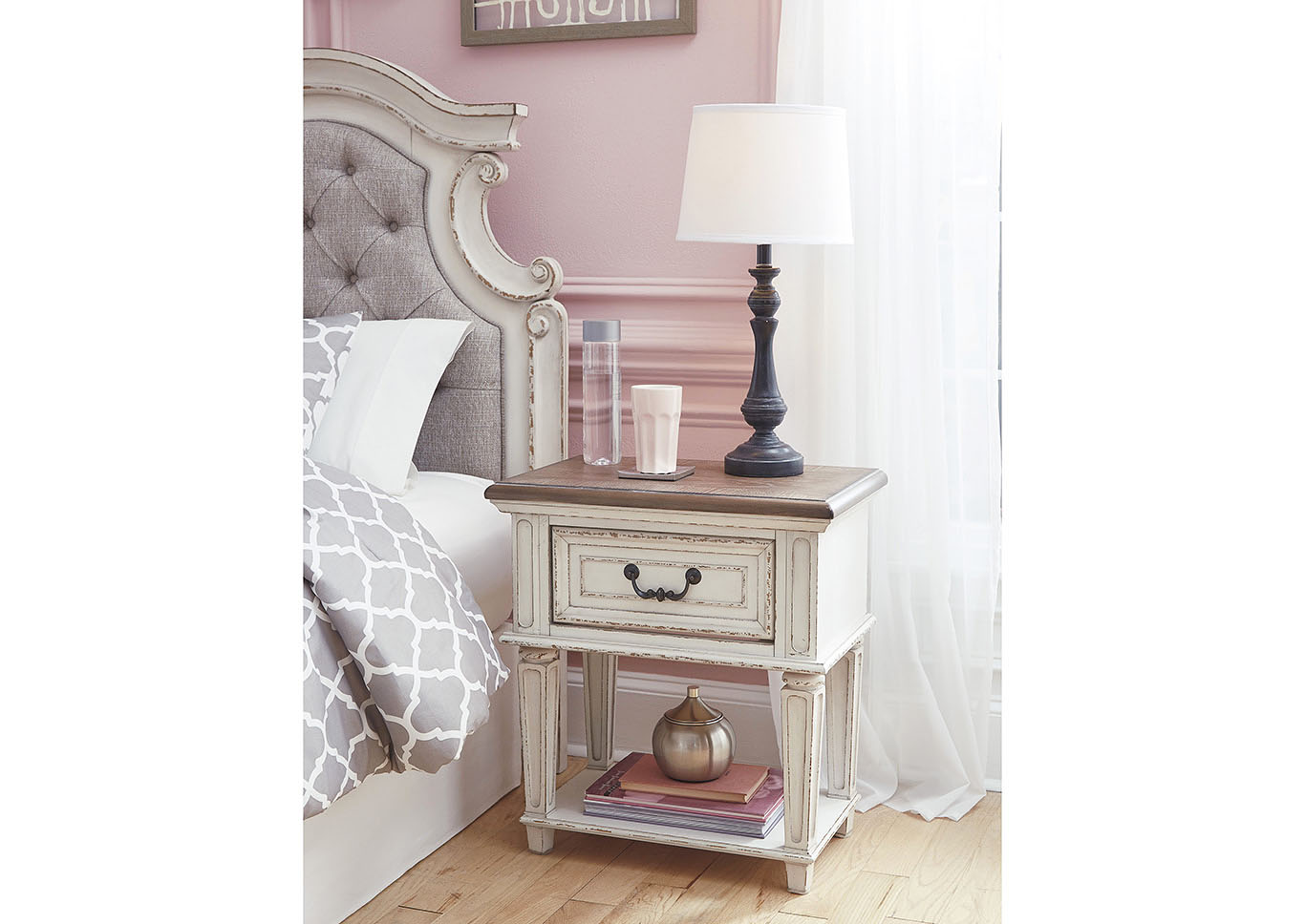 Realyn Chipped White Nightstand,Direct To Consumer Express