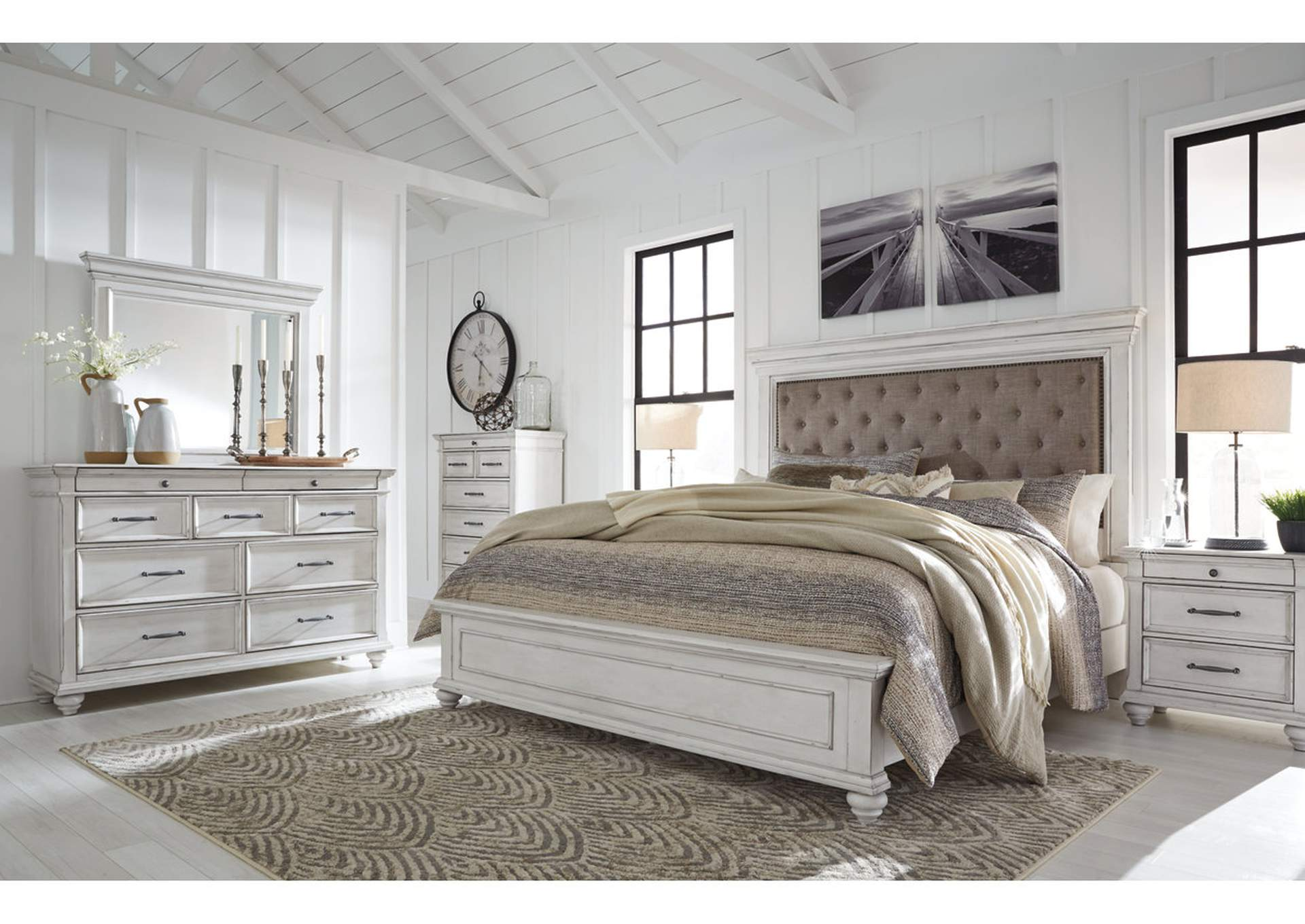 Kanwyn Whitewash California King Upholstered Panel Bed w/Dresser & Mirror,Benchcraft