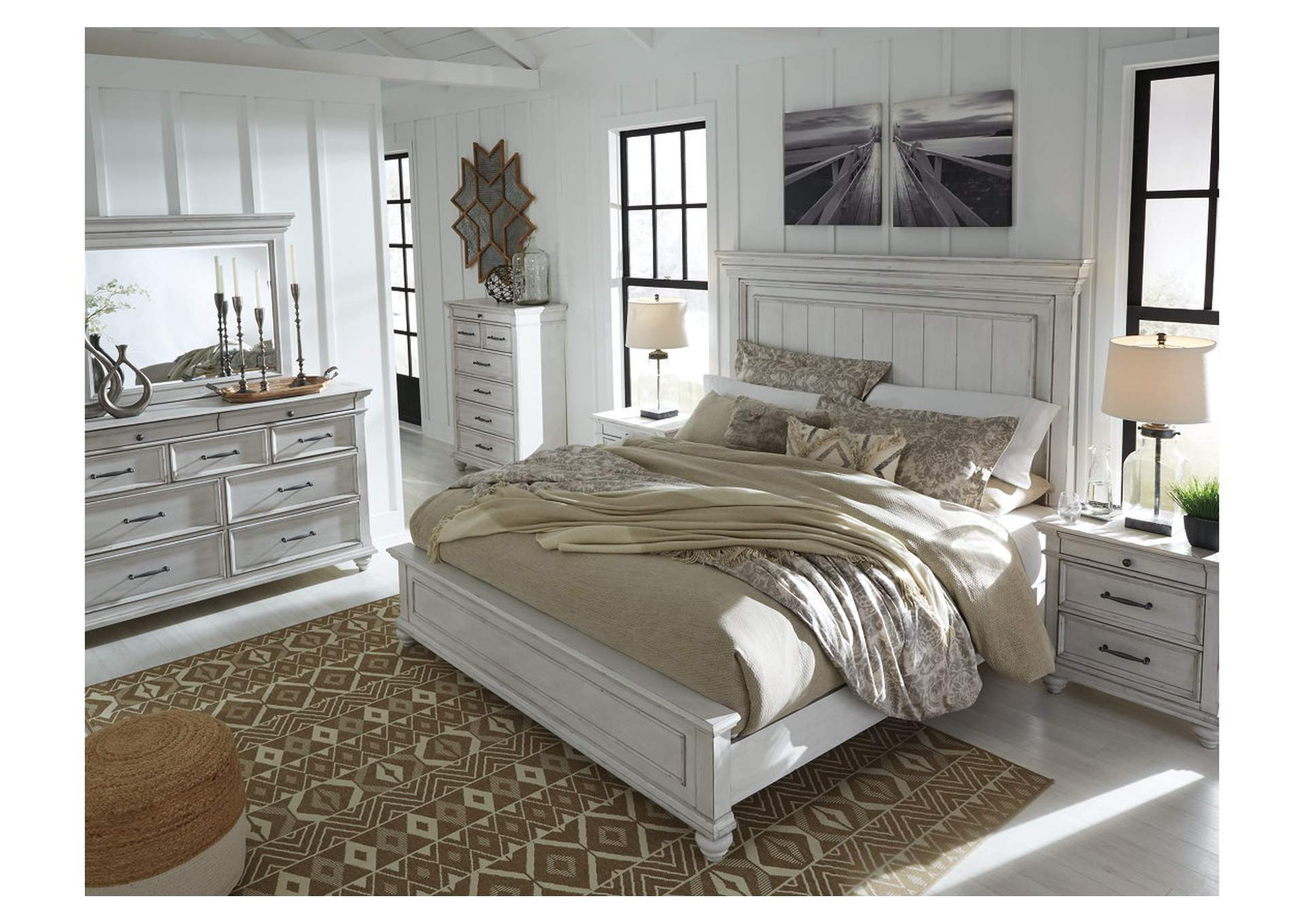 Kanwyn Whitewash California King Panel Bed,Benchcraft