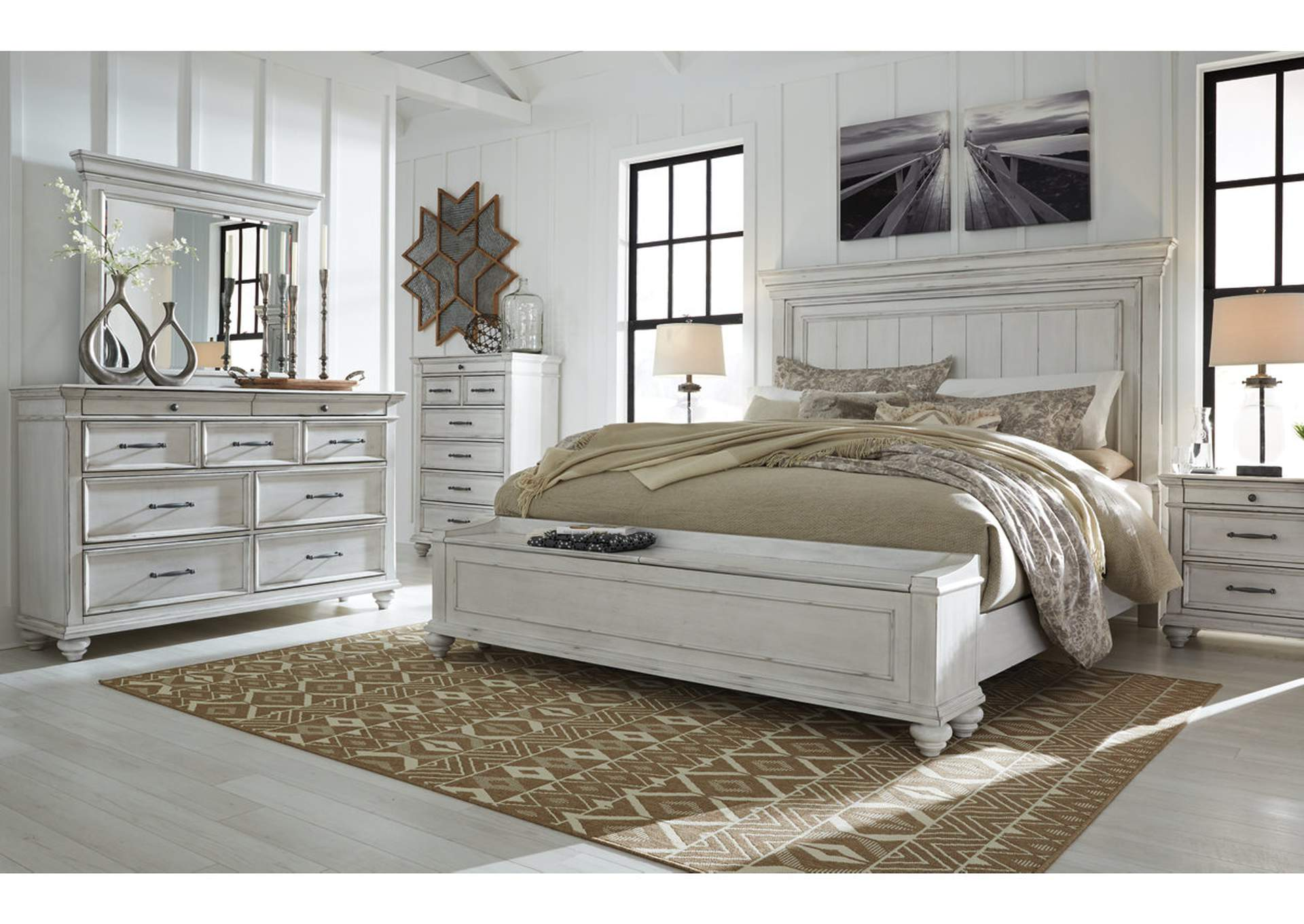 Kanwyn Whitewash California King Panel Storage Bed,Benchcraft