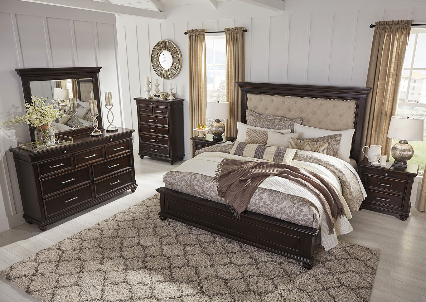 Brynhurst Brown Queen Upholstered Panel Bed,Signature Design By Ashley