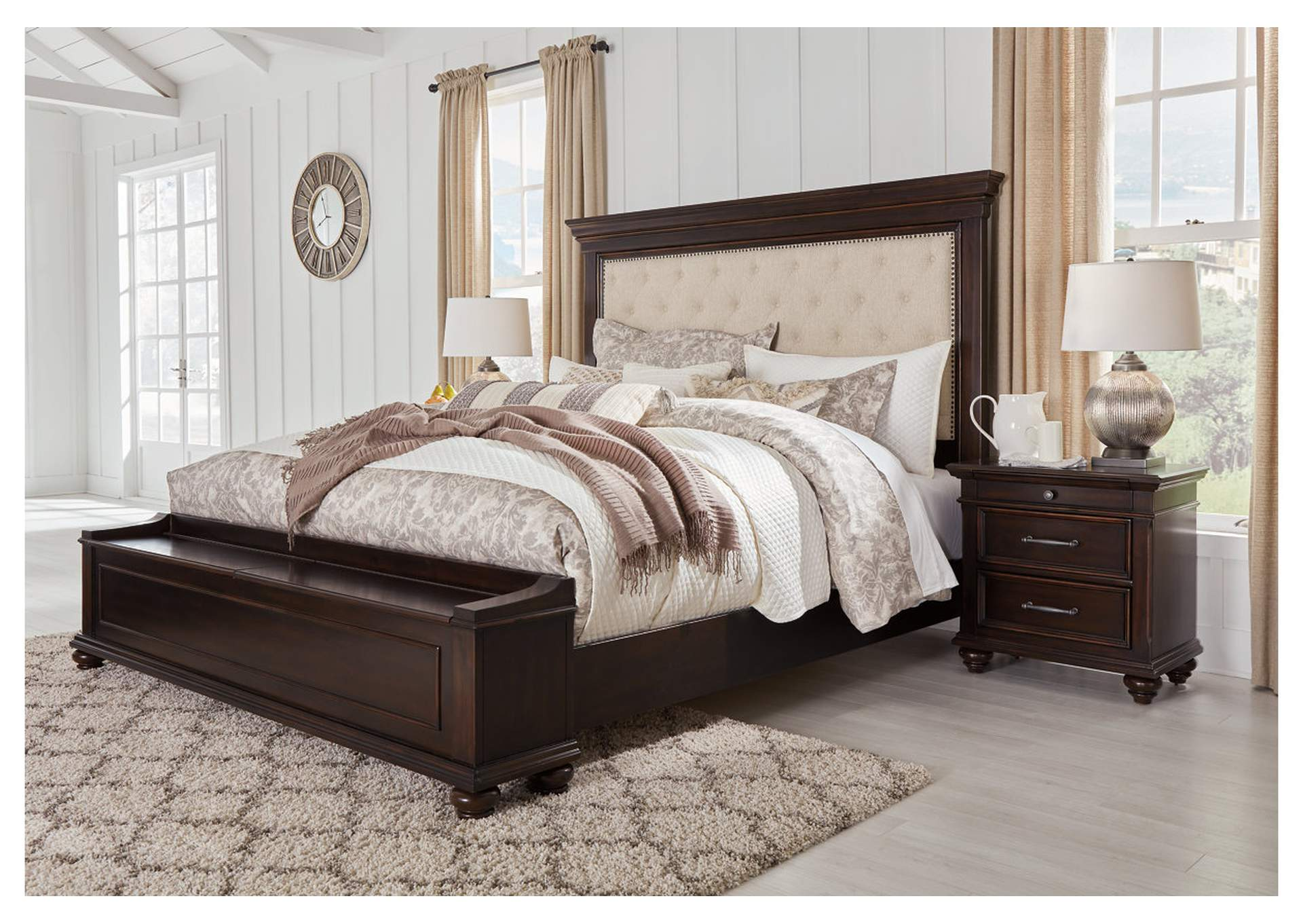 Brynhurst Brown King Upholstered Storage Bed,Signature Design By Ashley