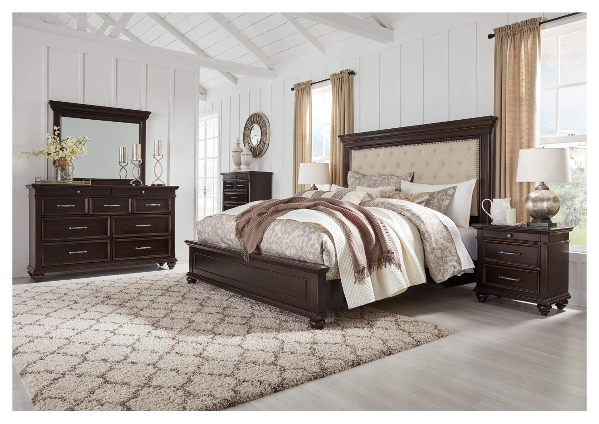 Brynhurst Brown King Upholstered Panel Bed Dresser w/Mirror,Signature Design By Ashley