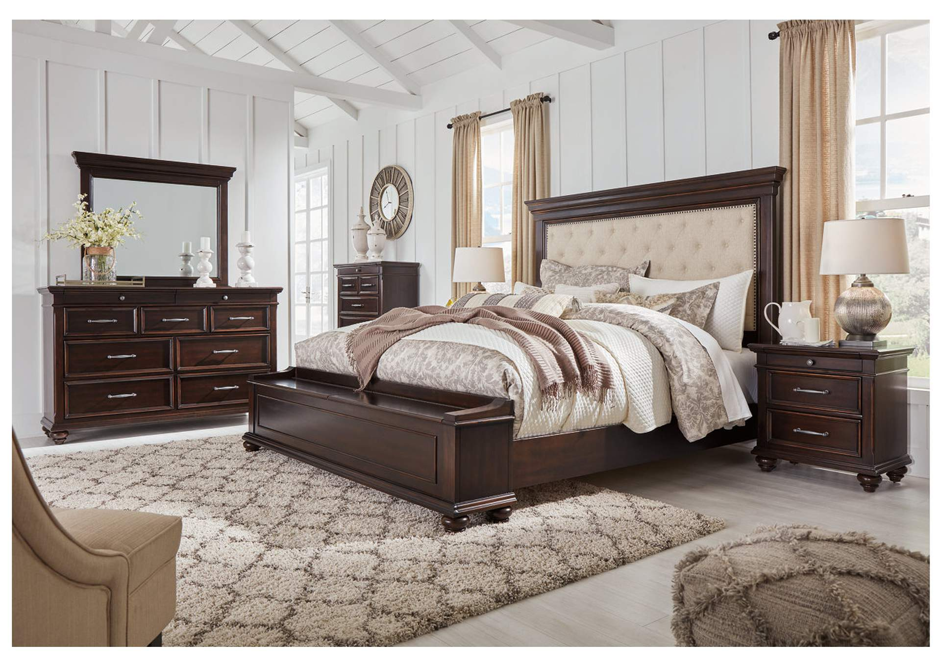 Brynhurst Brown Queen Upholstered Storage Bed Dresser w/Mirror,Signature Design By Ashley