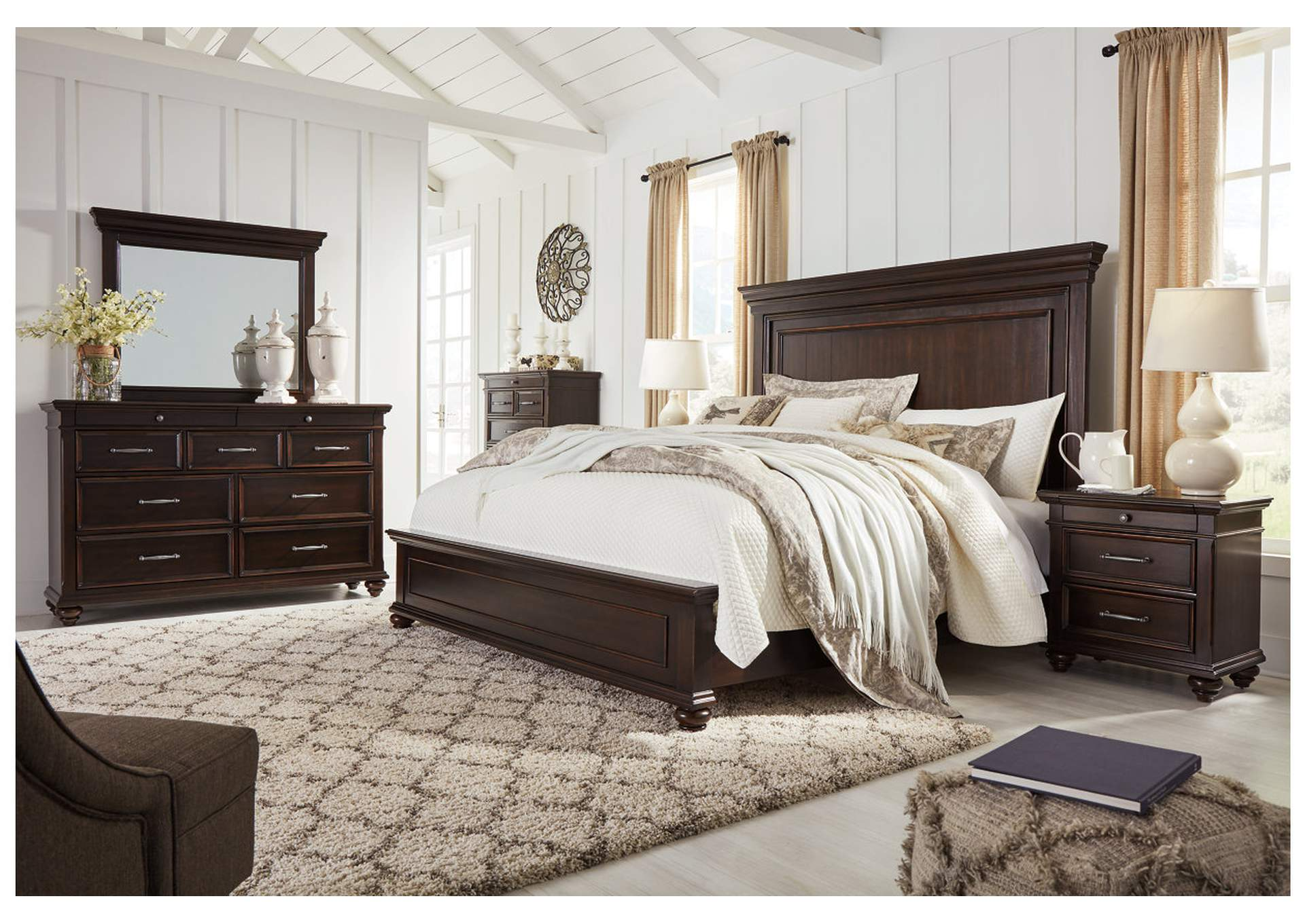 Brynhurst Brown California King Panel Bed Dresser w/Mirror,Signature Design By Ashley