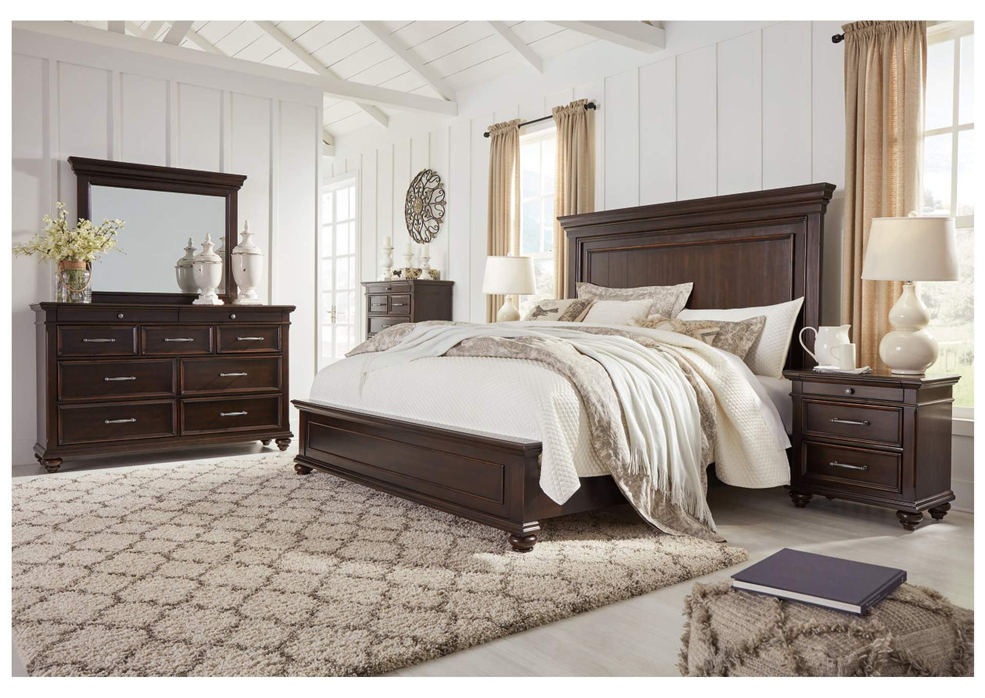 Brynhurst Brown Queen Panel Bed Dresser w/Mirror,Signature Design By Ashley