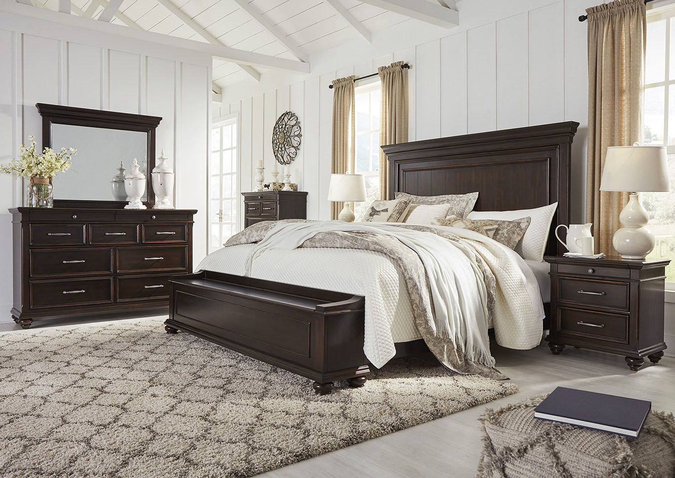 Brynhurst Brown Queen Storage Bed Dresser w/Mirror,Signature Design By Ashley