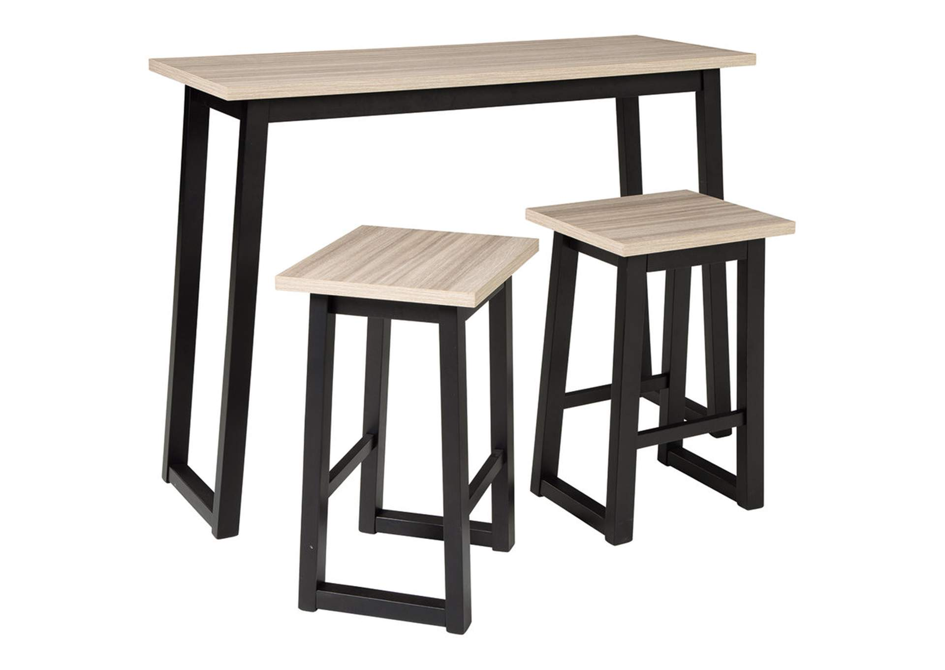Waylowe Counter Height Dining Room Table and Bar Stools (Set of 3),Signature Design By Ashley