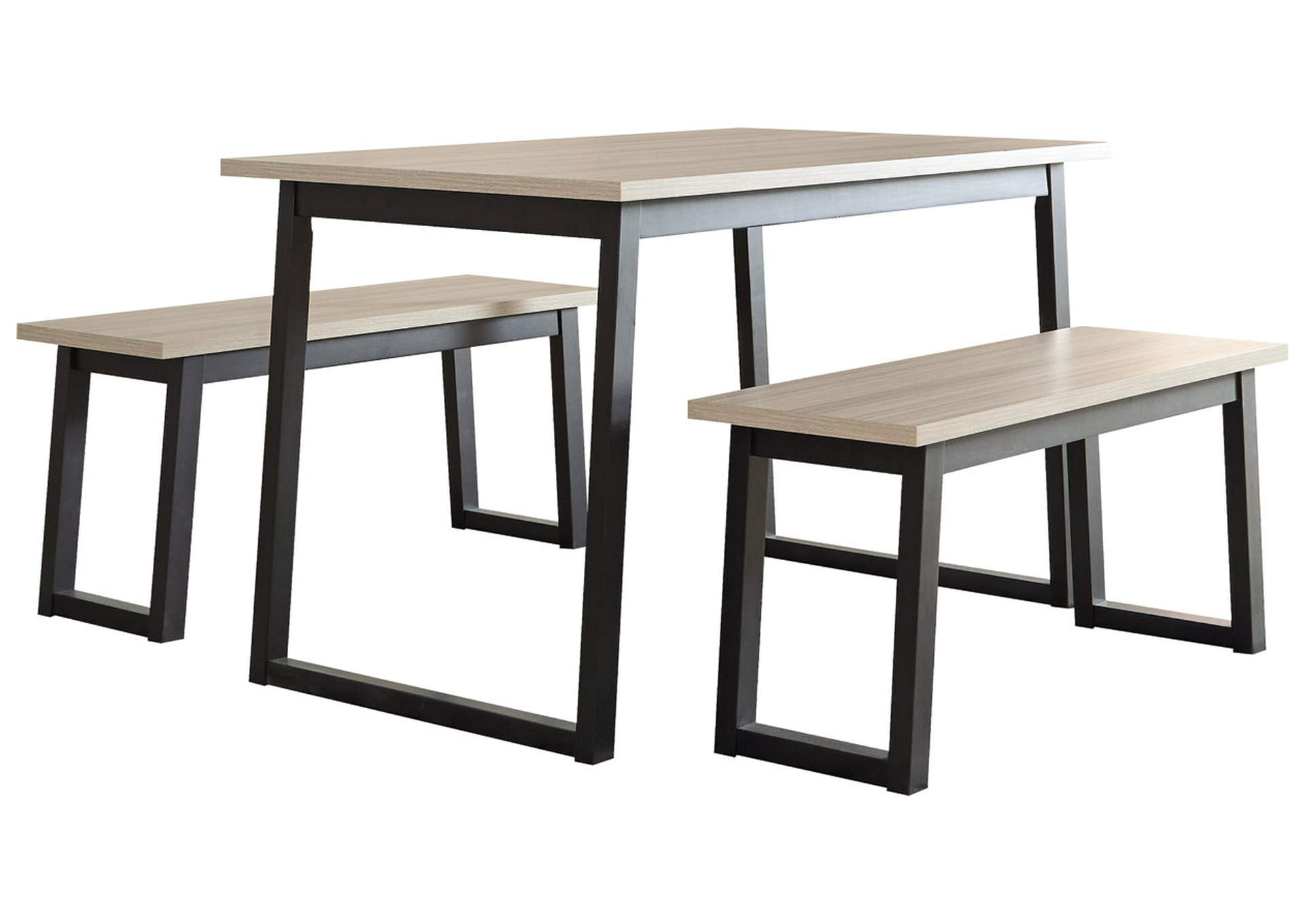 Waylowe Two-Tone Dining Table and Benches (Set of 3),Signature Design By Ashley