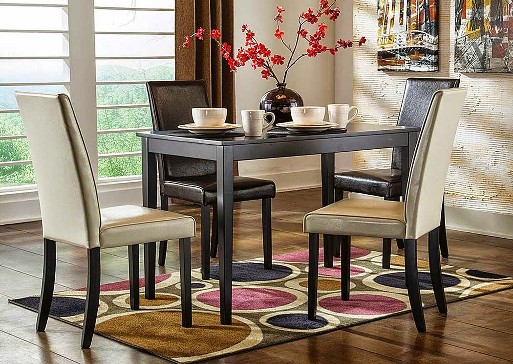 Kimonte Rectangular Dining Table w/2 Dark Brown Chairs & 2 Ivory Chairs,Direct To Consumer Express