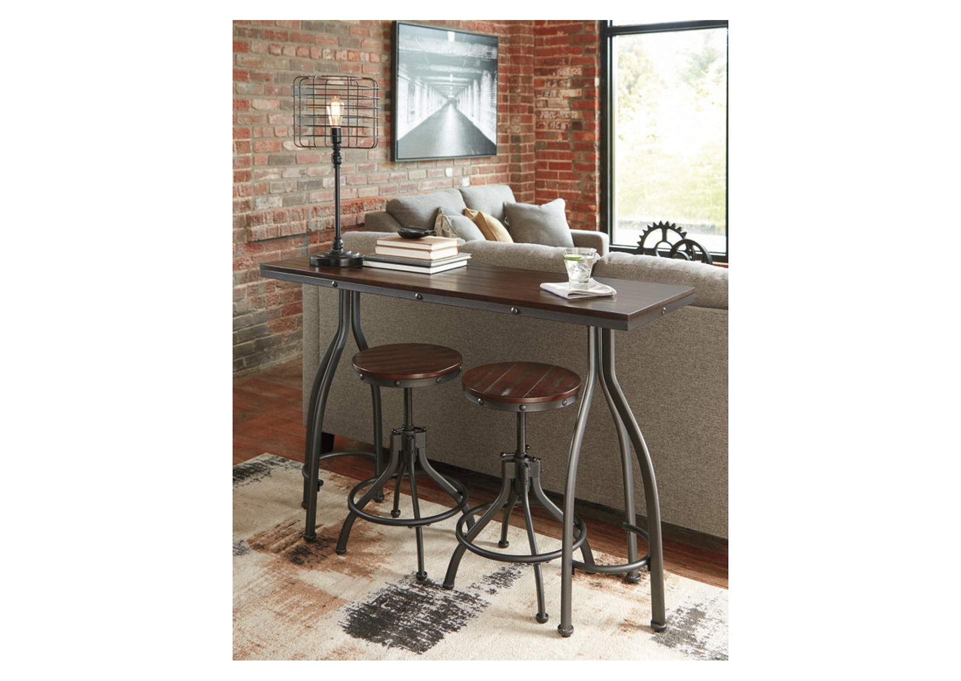 Odium Rustic Brown Rectangular Counter Table w/2 Stools,Signature Design By Ashley