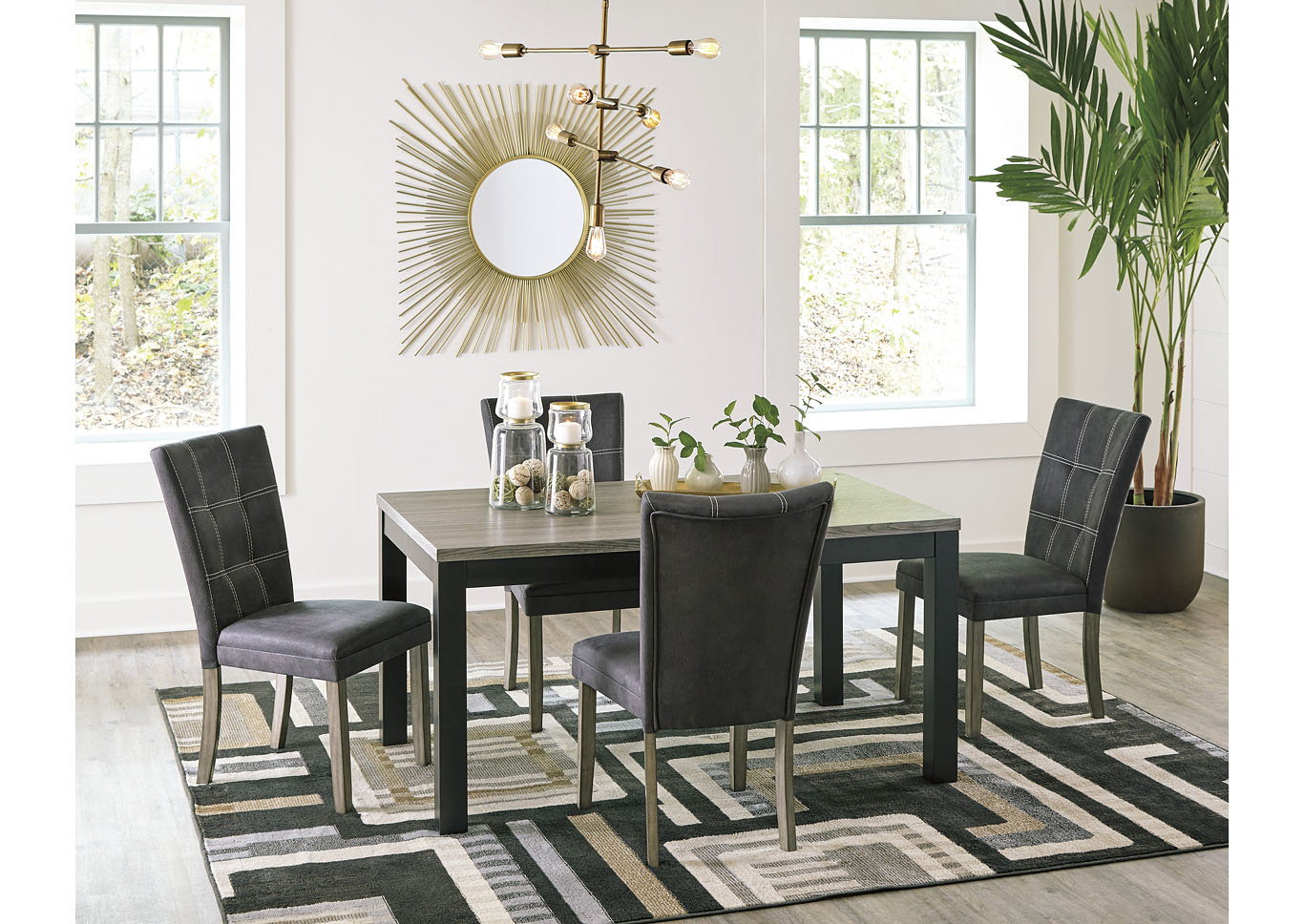 Dontally Two-tone Dining Room Table w/4 Side Chair,Benchcraft