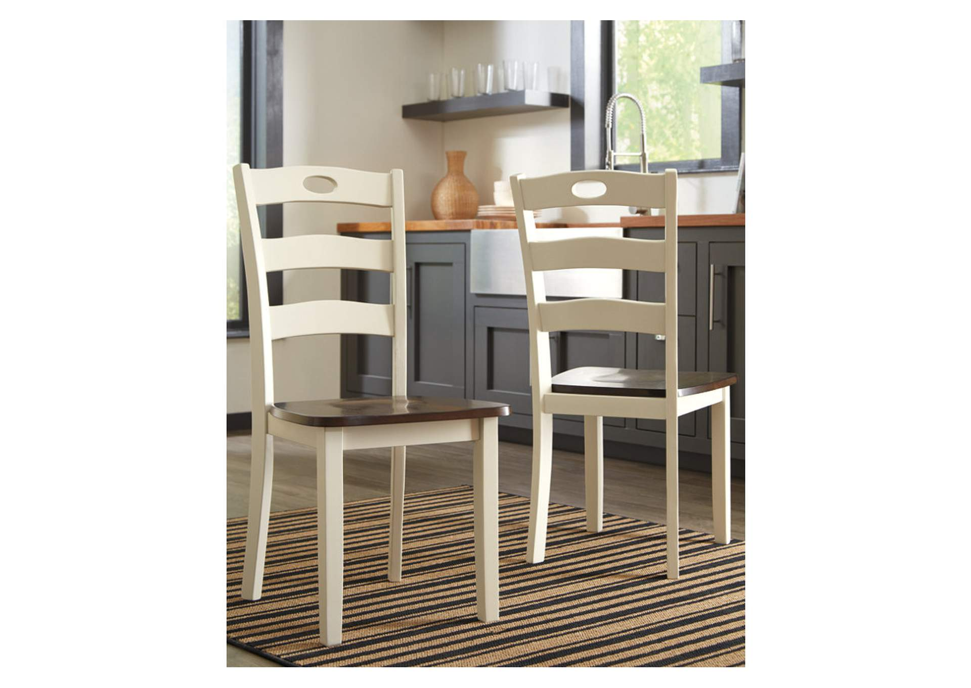 Woodanville White/Brown Dining Room Side Chair (Set of 2),Direct To Consumer Express