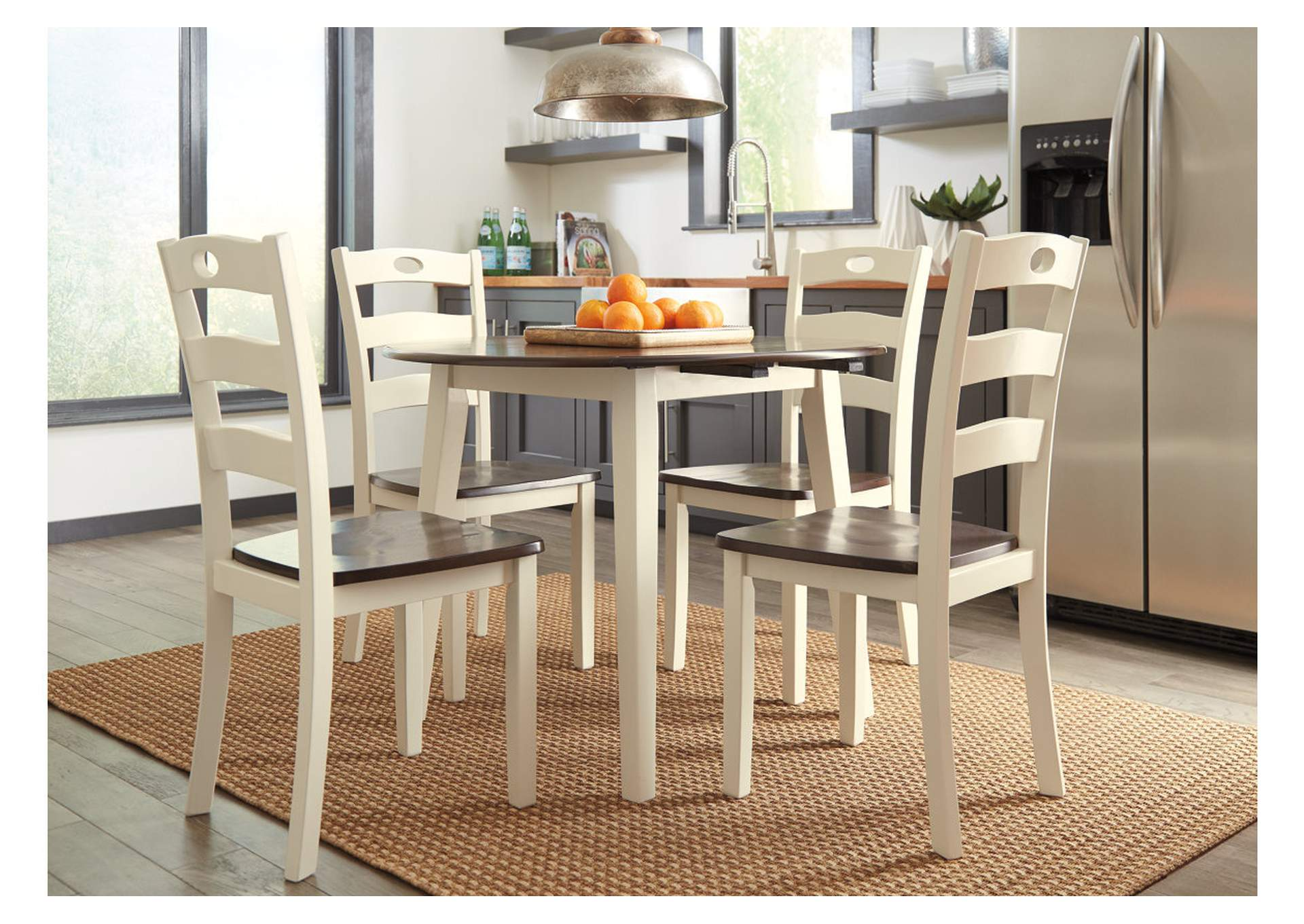 Woodanville White/Brown Round Dining Room Drop Leaf Table,Direct To Consumer Express
