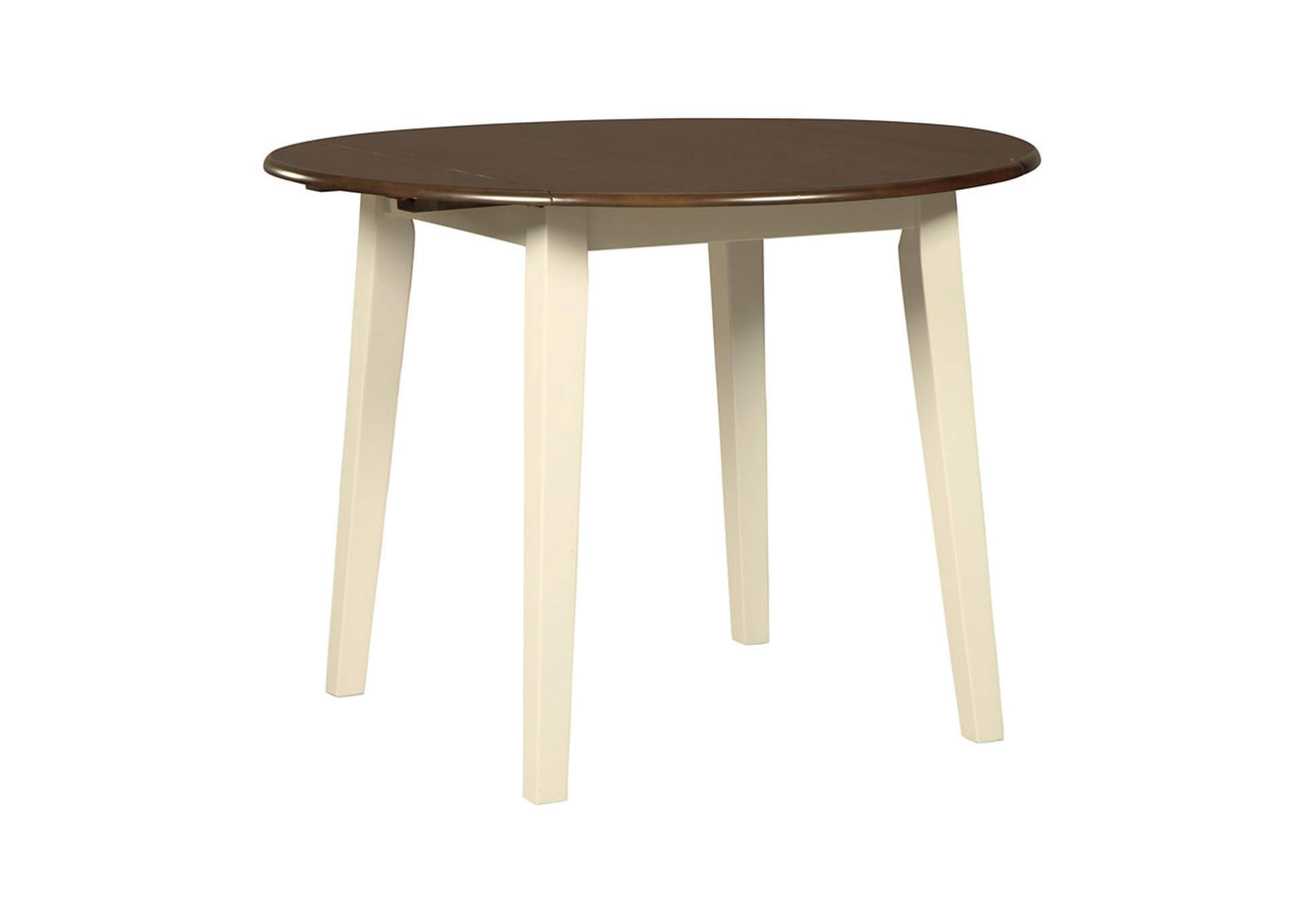 Woodanville White/Brown Round Dining Room Drop Leaf Table,Signature Design By Ashley