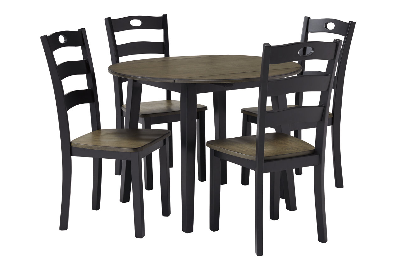 Froshburg Grayish Brown/Black Round Drop Leaf Table w/4 Side Chairs,Direct To Consumer Express