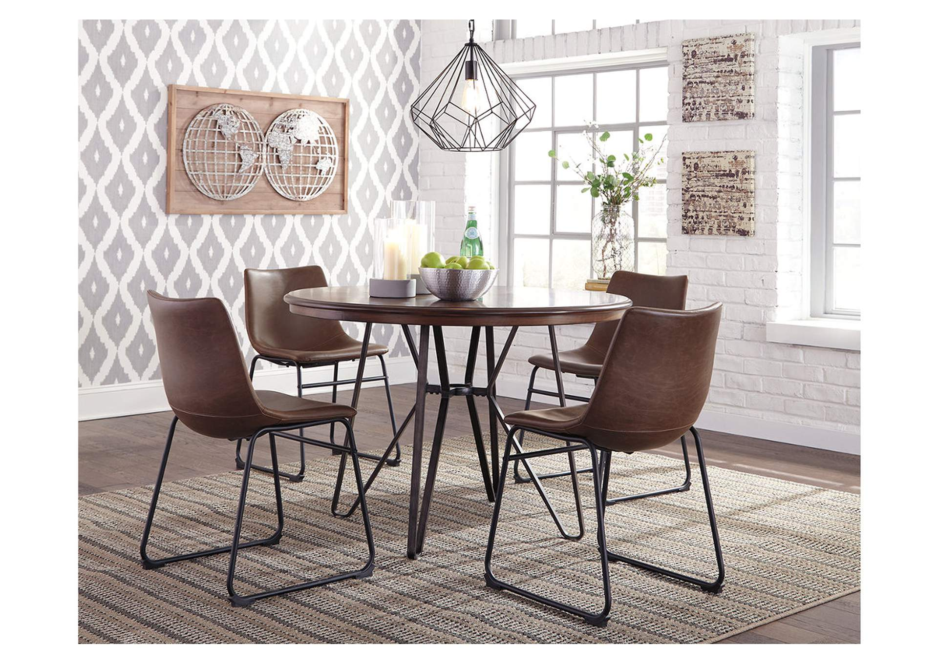 Centiar Two Tone Brown Round Dining Room Table Langlois Furniture Muskegon Mi