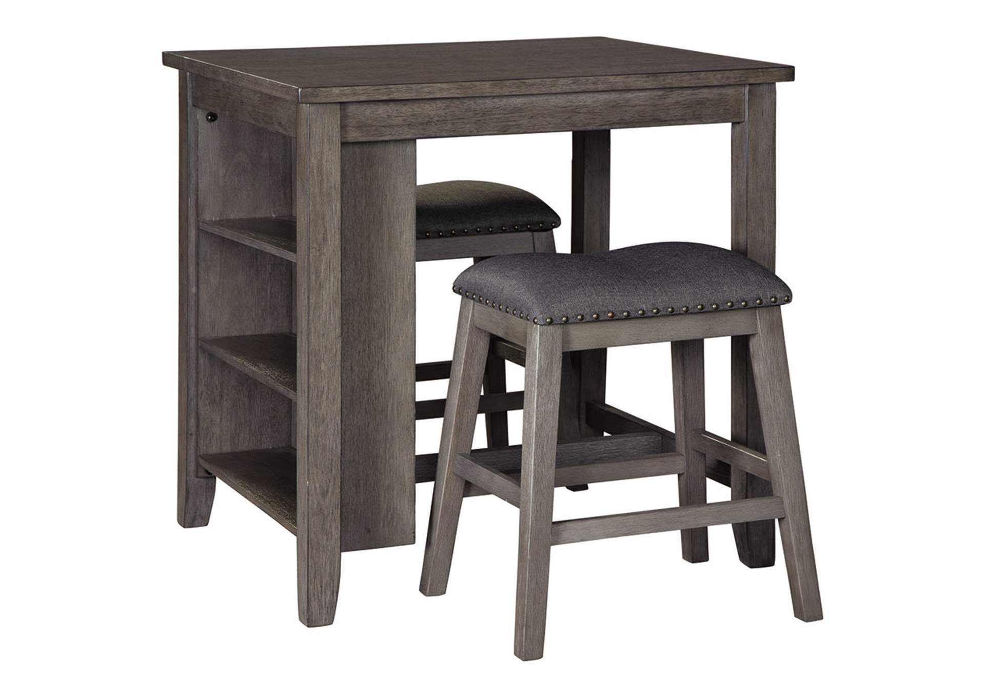 Caitbrook Gray Counter Table w/2 Bar Stool,Signature Design By Ashley