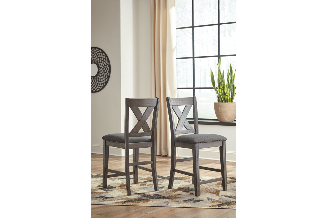 Caitbrook Dark Gray Upholstered Bar Stool (Set of 2),Direct To Consumer Express