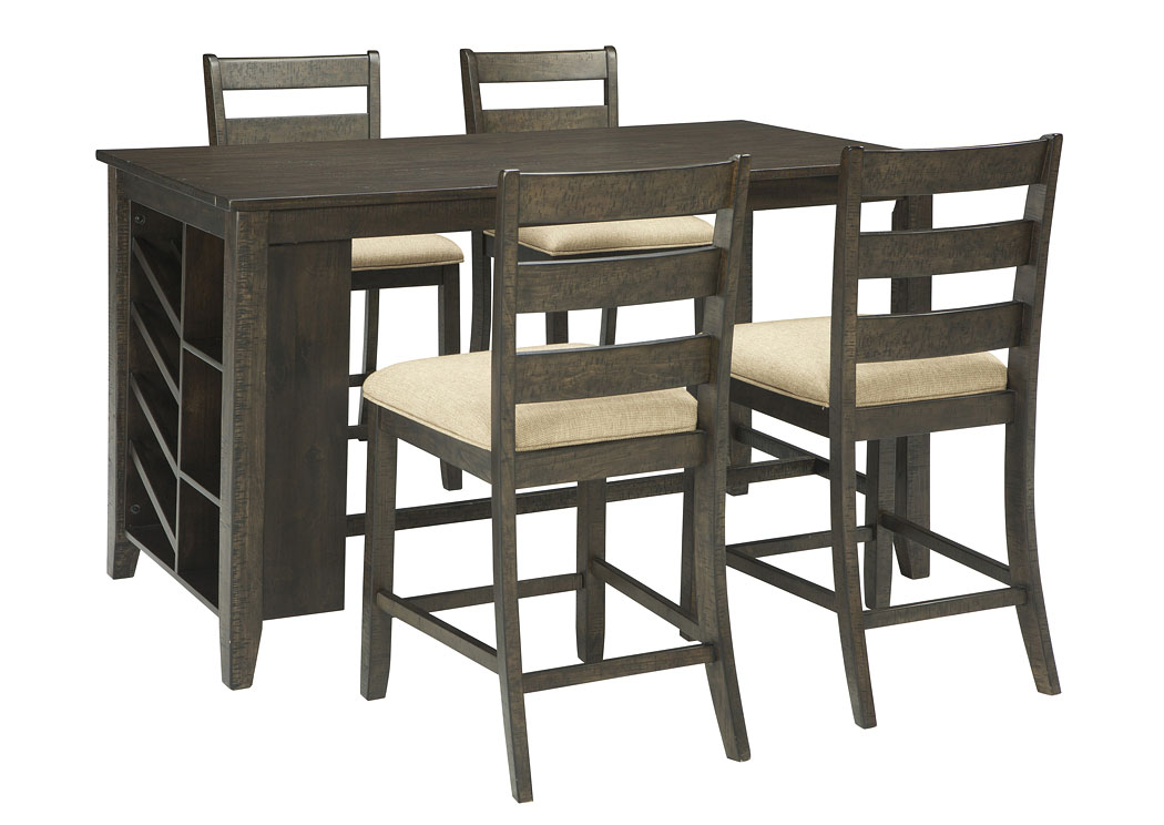 Rokane Brown Rectangular Counter Table w/Storage and 4 Upholstered Barstools,Direct To Consumer Express