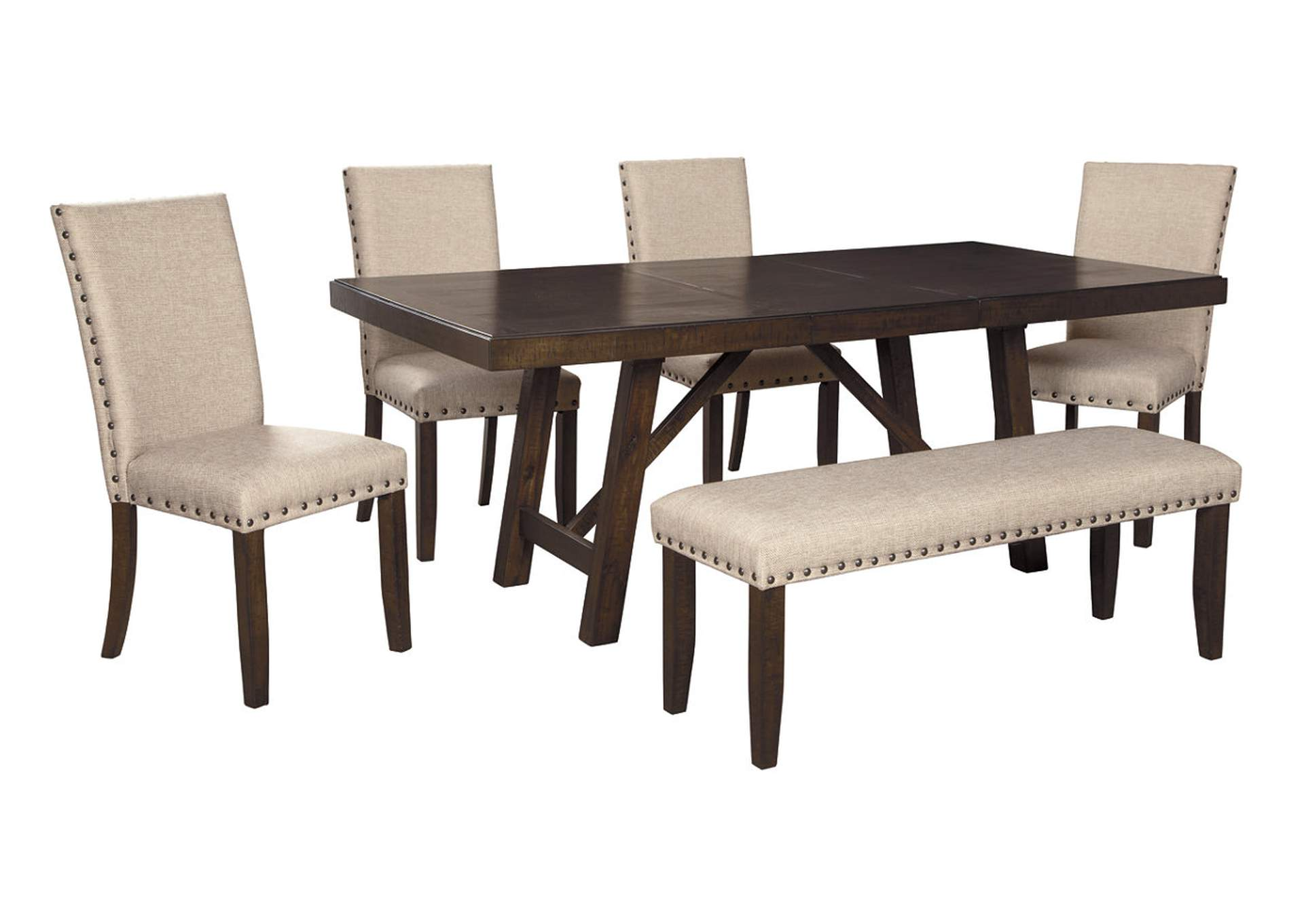 Rokane Light Brown Dining Table w/4 Side Chairs & Bench,Signature Design By Ashley
