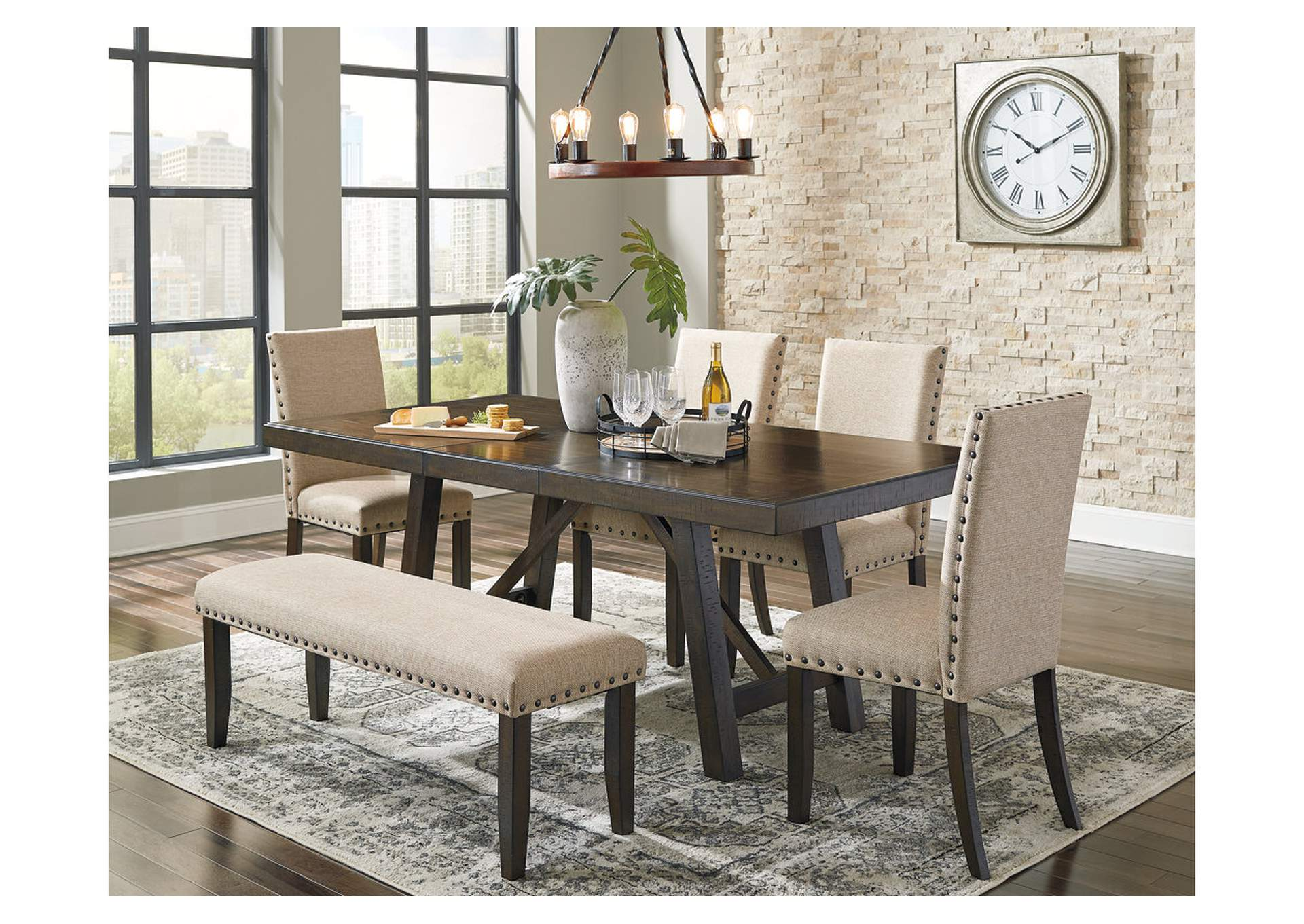 Rokane Light Brown Dining Table W 2 Side Chairs Bench American Furniture Design