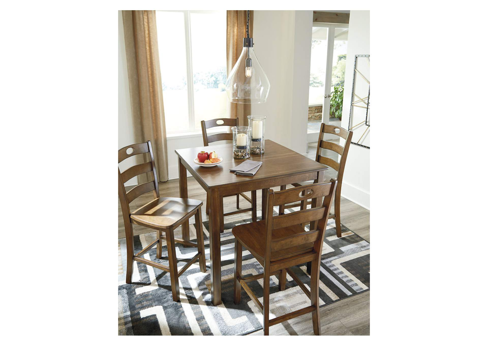 Hazelteen Brown Square Counter Table Set,Signature Design By Ashley