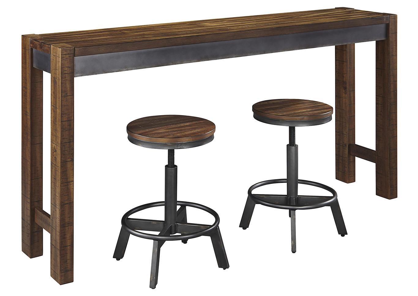 Torjin Two-tone Brown Long Counter Table w/2 Stools,Signature Design By Ashley