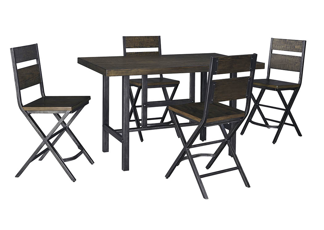 Kavara Medium Brown Rectangular Dining Room Counter Table w/ 4 Stools,Direct To Consumer Express