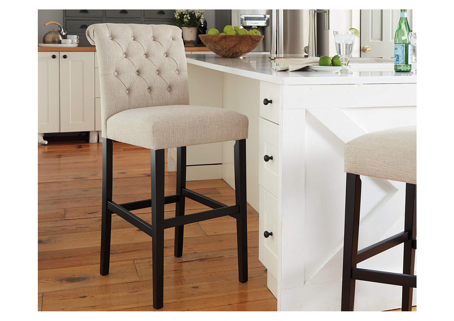 Tripton Medium Linen Tall Upholstered Barstool (Set of 2),Direct To Consumer Express