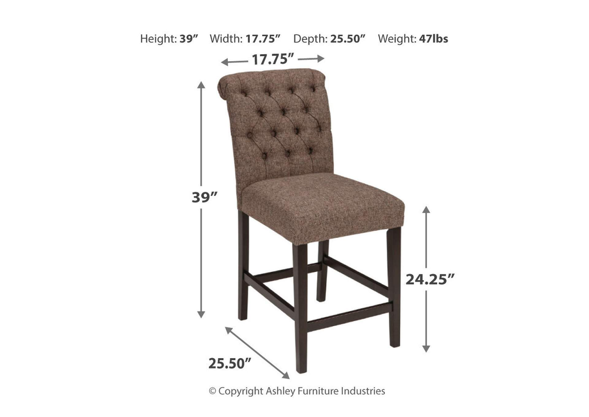 Tripton Medium Brown Upholstered Barstool (Set of 2),Direct To Consumer Express