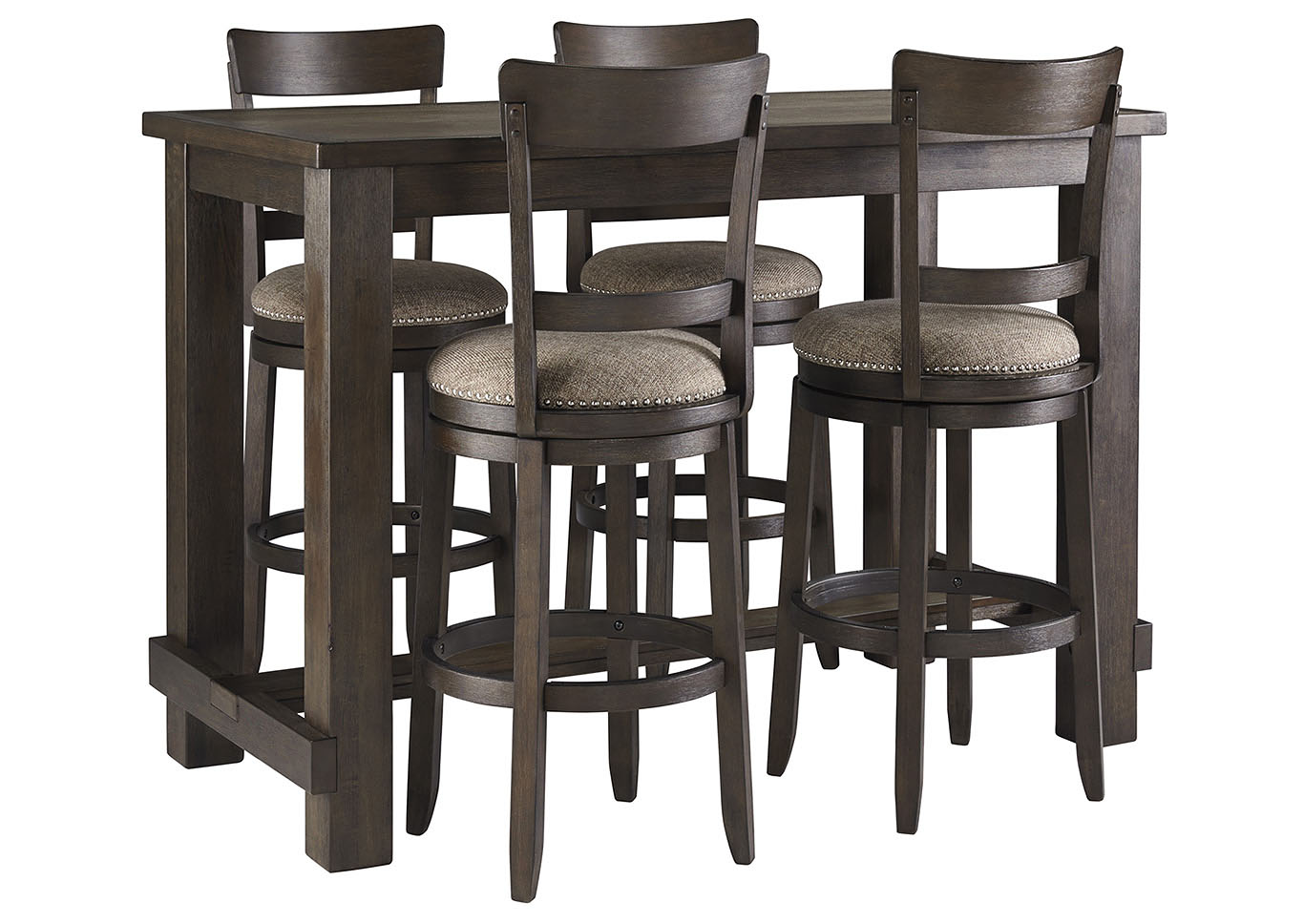 Drewing Brown Bar Table w/4 Upholstered Barstools,Signature Design By Ashley