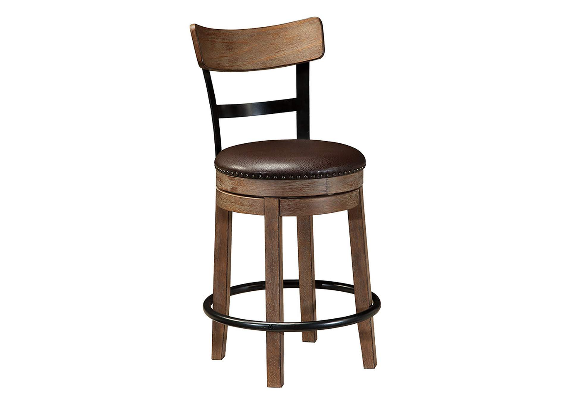 Pinnadel Light Brown Upholstered Swivel Barstool,Direct To Consumer Express