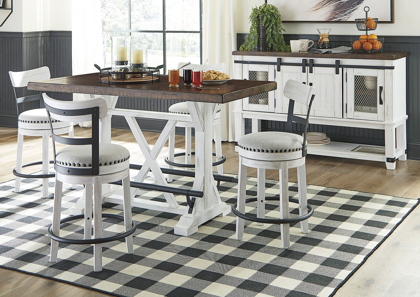 Valebeck Brown Counter Height Dining Table w/4 Backed White Barstools,Signature Design By Ashley