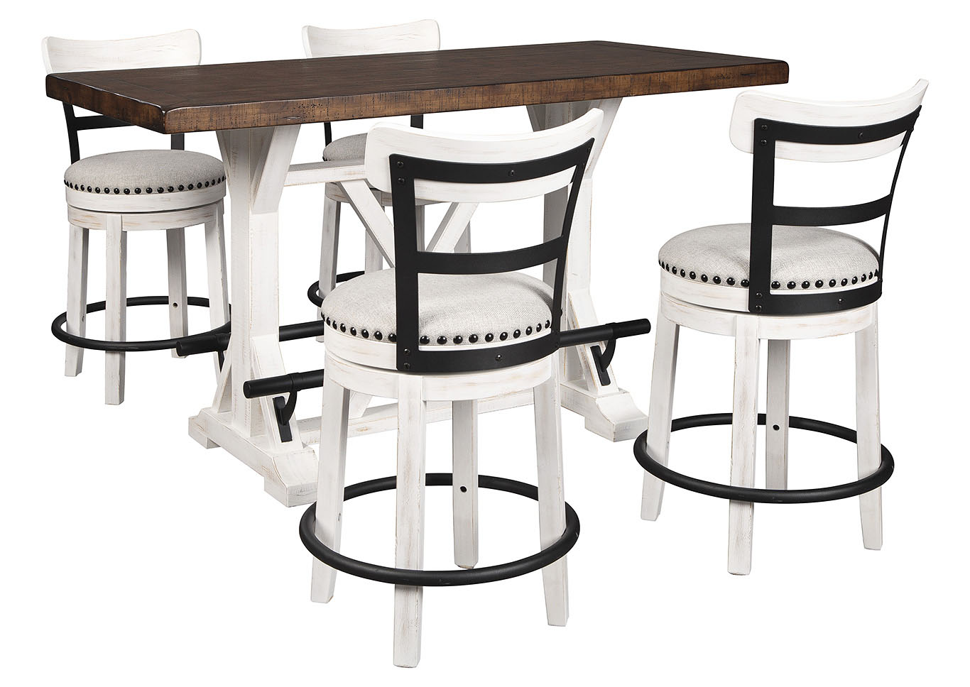 Picture of: Valebeck Brown Counter Height Dining Table W 4 Backed White Barstools Curly S Furniture