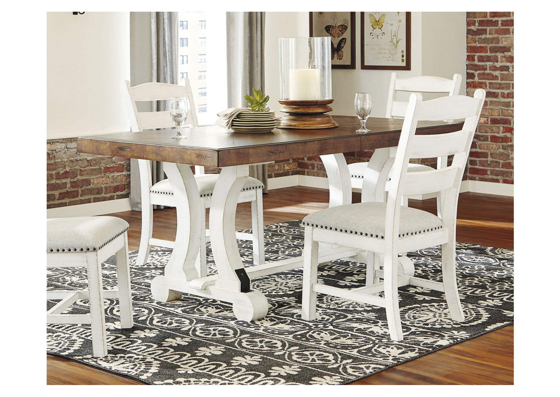 Valebeck White/Brown Dining Table Homeline Furniture