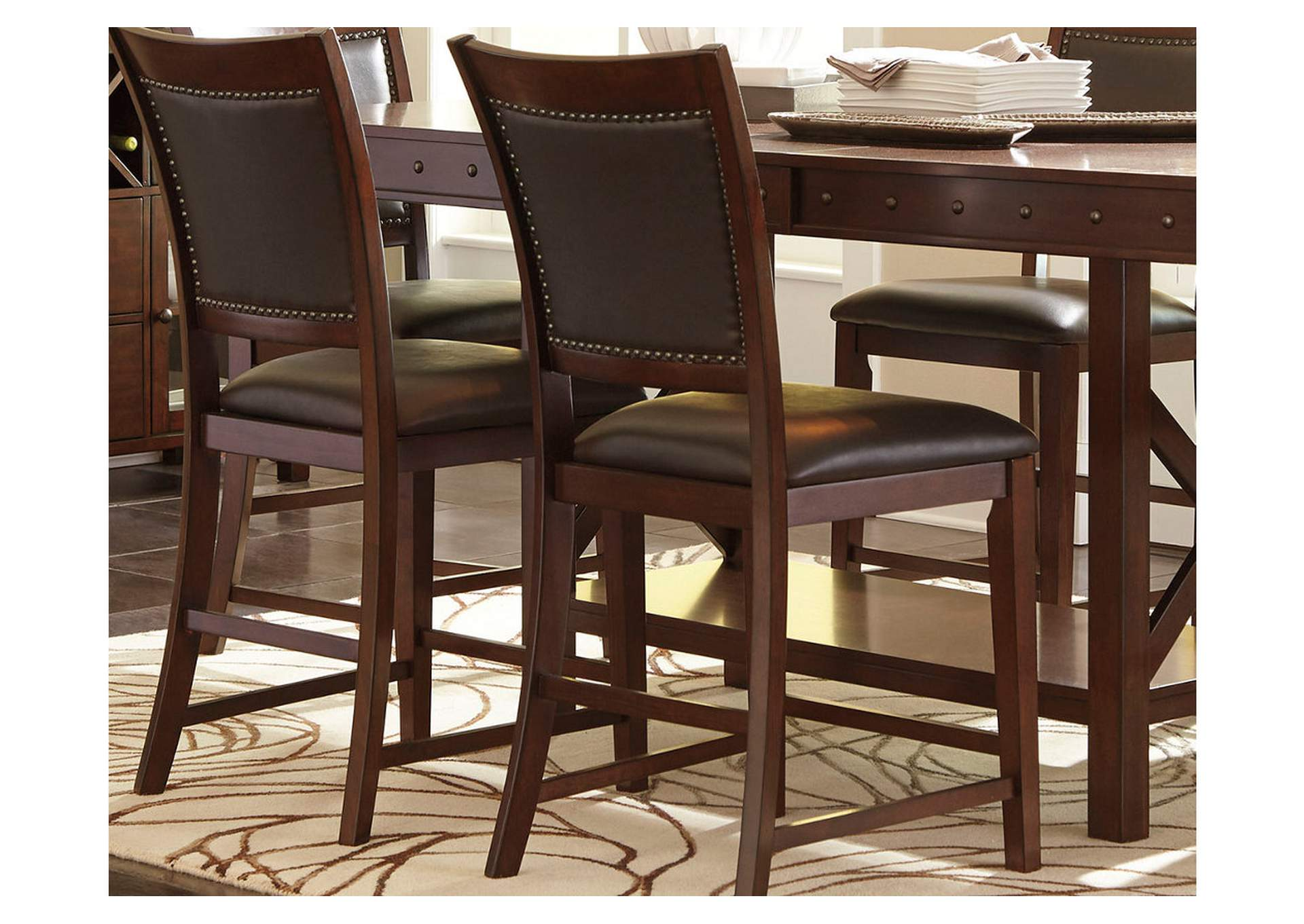 Collenburg Dark Brown Upholstered Barstool (Set of 2),Direct To Consumer Express