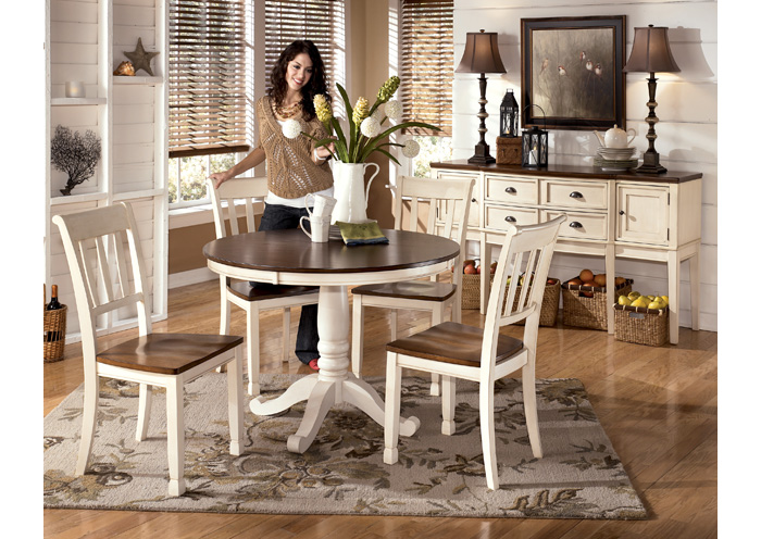 Whitesburg Round Table & 4 Side Chairs,Direct To Consumer Express