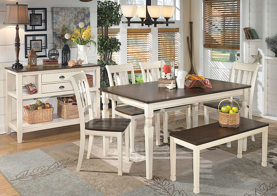 Whitesburg Rectangular Dining Table w/ 4 Side Chairs & Bench,Direct To Consumer Express
