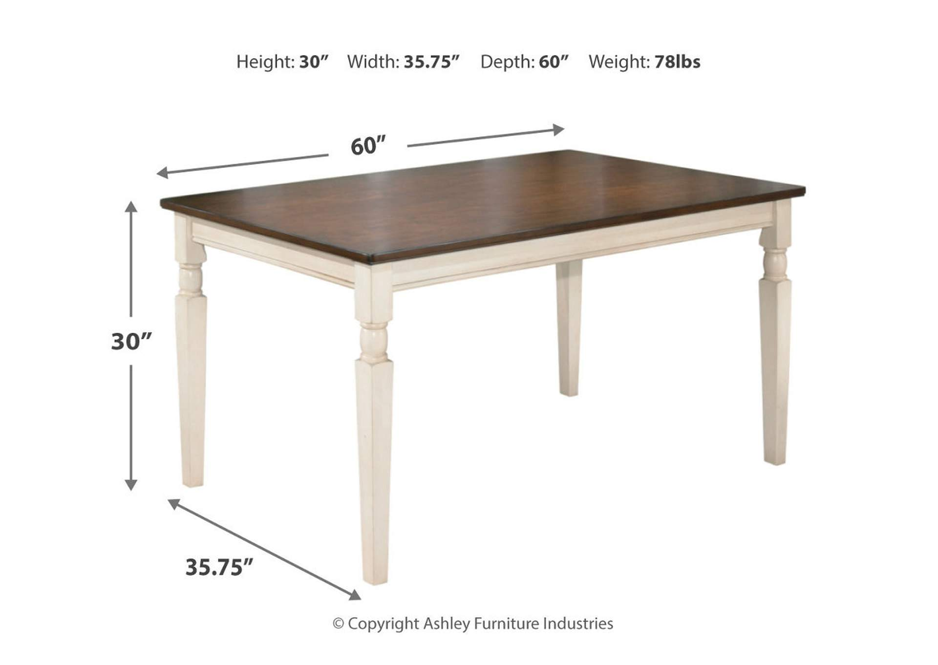 Whitesburg Rectangular Dining Table,Direct To Consumer Express