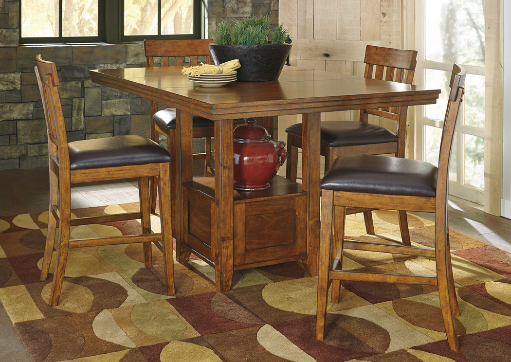 Ralene Rectangular Counter Height Extension Table w/ 4 Bar Stools,Direct To Consumer Express