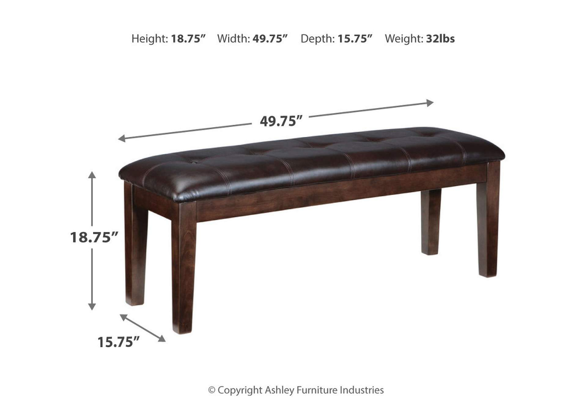Haddigan Brown Dining Room Bench,Direct To Consumer Express