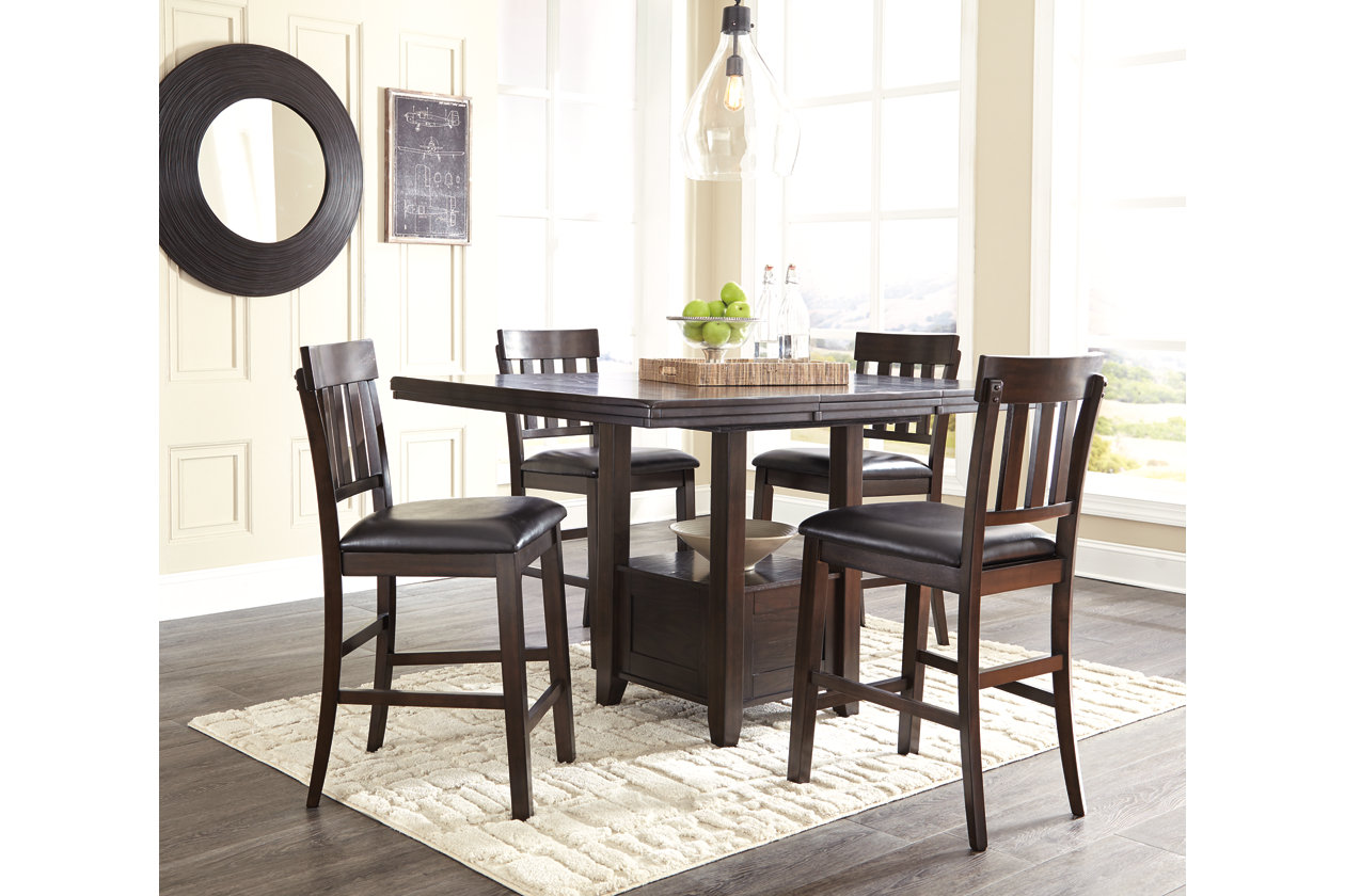 Haddigan Dark Brown Rectangular Counter Height Table w/ 4 Stools,Signature Design By Ashley