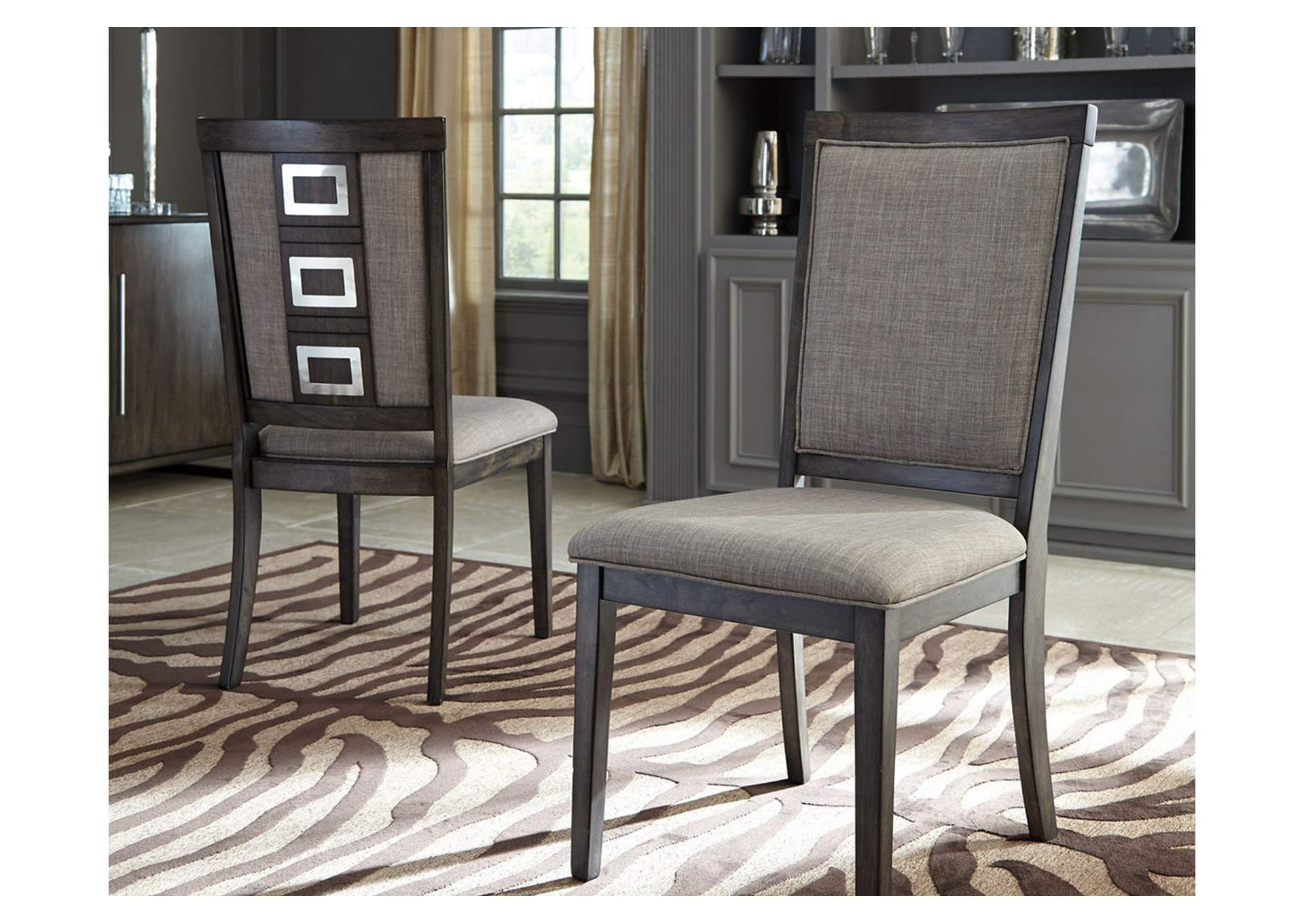 Chadoni Gray Upholstered Side Chair (Set of 2),Direct To Consumer Express
