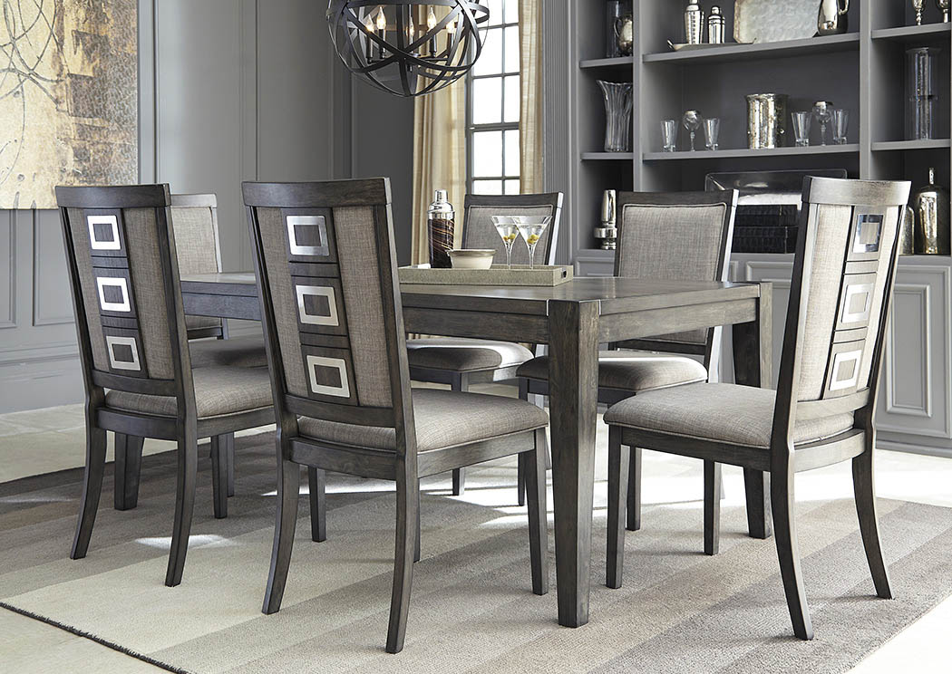 Chadoni Gray Rectangular Dining Room Extension Table w/ 6 Upholstered Side Chairs,Signature Design By Ashley