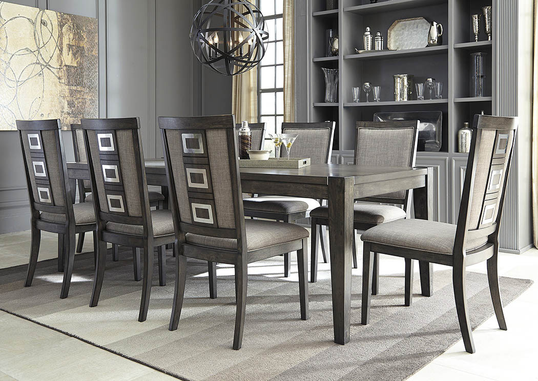 Chadoni Gray Rectangular Dining Room Extension Table W 8 Upholstered Side Chairs Furniture Plus