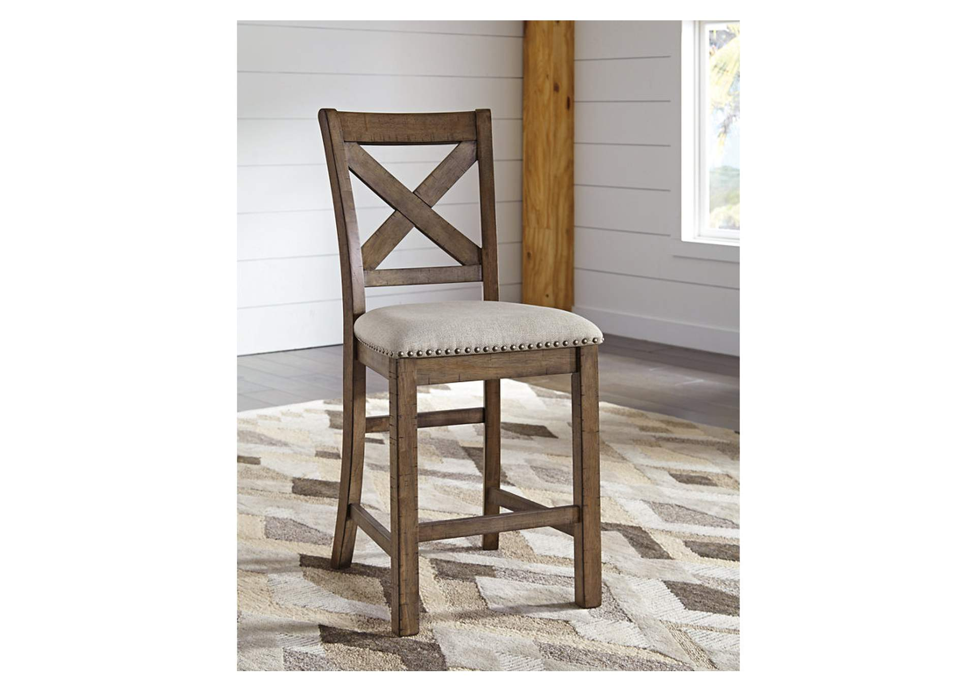 Moriville Gray Upholstered Barstool (Set of 2),Direct To Consumer Express